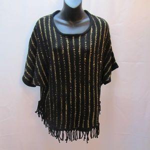 Valerie Stevens Knitted Style Sequined Fringed Top